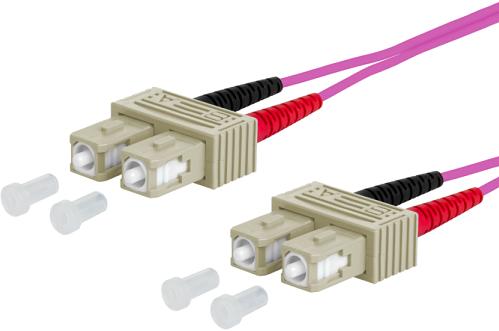 UCS Patchkabel OM4, SC/UPC-SC/UPC, duplex, 2mm, erica-violet, 25m