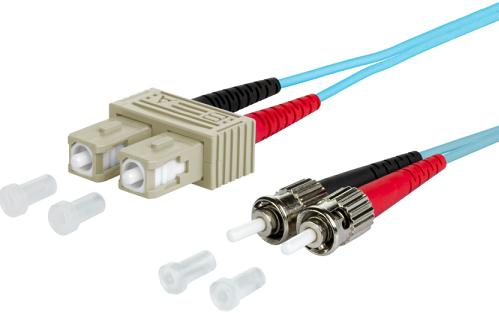 UCS Patchkabel OM3, SC/UPC-ST/UPC, duplex, 2mm, turquoise, 1m