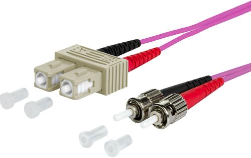 UCS Patchkabel OM4, SC/UPC-ST/UPC, duplex, 2mm, erica-violet, 10m