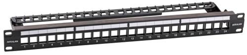 INFRALAN© Patchpaneel KS 24v, leeg, 1HE, tbv Keystone, Ral9005 zwart